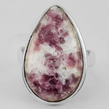 Beautiful Lepidolite Ring Size 8 USA or Q for UK, 925 Silver Overlay - $26.00