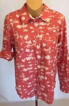 Tommy Hilfiger Blouse M Medium Pink Floral Roll Sleeve Cotton Shirt - $14.99