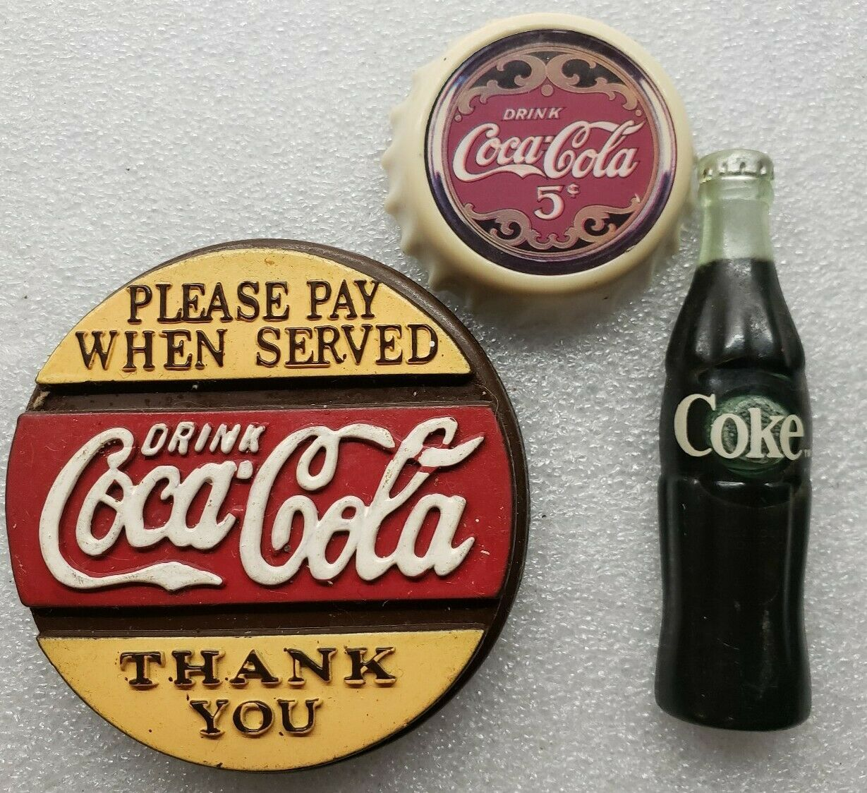 Primary image for Vintage Coca Cola Magnets Arjon 1996 Bottle Cap Sign