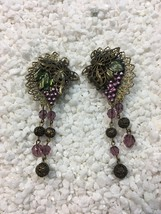 Vintage Hand Crafted Dangle Grape & Butterfly Clip On Earrings Purple Green Gold - $12.00