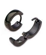 Stainless Steel Black Plated Huggies Earrings - $21.00