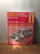 Haynes Repair Manual Dodge Caravan and Plymouth Voyager Mini-Van 1984 th... - $9.89