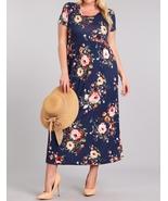 Plus Size Maxi Dress, Plus Size Maxi Dresses, Navy Floral Plus Size Dress - €48,53 EUR