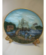 3-D Wall Hanging Plate  Paddle Wheeler Ships House & Boys By The River - $12.95