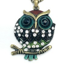 "Burnished Gold Tone Rhinestone Owl on Branch 24"" Necklace - $12.86"
