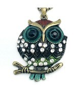"Burnished Gold Tone Rhinestone Owl on Branch 24"" Necklace - £10.51 GBP"