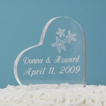 Beach Wedding Acrylic Heart Cake Topper - $31.96