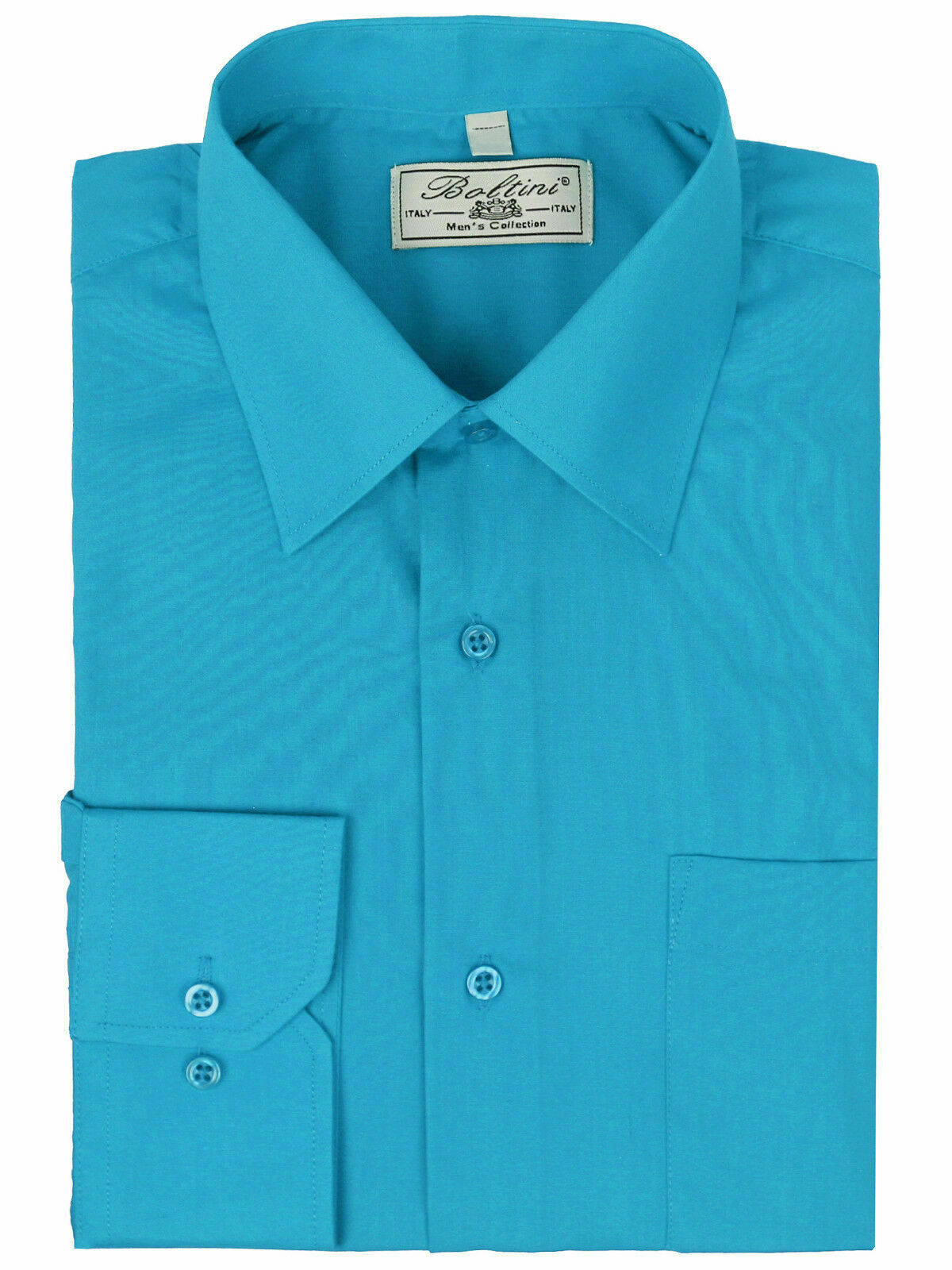 Boltini Italy Men's Casual Long Sleeve Solid Barrel Cuff Turquoise Dress Shirt