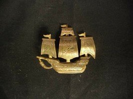 VINTAGE COPPER TONED METAL SPANISH SHIP BROOCH PIN MADE IN SPAIN CROSS O... - $39.99