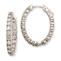 SS Rhodium Finish CZ In & Out Oval Hinged Hoop Earrings by Sterling Shimmer - $1.588,50 MXN