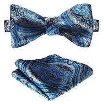 BIYINI Men's Paisley Floral Jacquard Woven Party Self Bow Tie Set Blue / Beige - $24.12