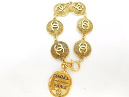 Auth Chanel round Cambon plate bracelet vintage gold 40g - $563.12