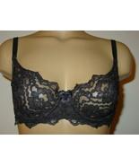 Victoria's Secret Vintage Black Lace Cup Bra Satin Sides Back #8287-38B - $39.55