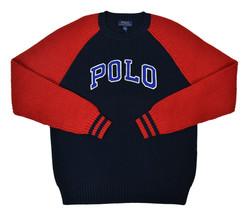 Polo Ralph Lauren Ragazzi Blu Navy Rosso Bicolore collo Tondo Maglione X... - $51.01