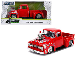 1956 Ford F-100 Pickup Truck with Blower Glossy Red with Flames 1/24 Die... - $36.95