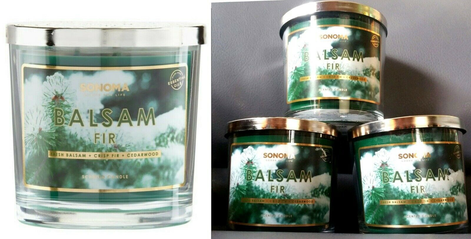Primary image for $60 Balsam Fir Sonoma Jar Candle w/Lid 3-Wick Pine Tree Scent-LOT of Three-3
