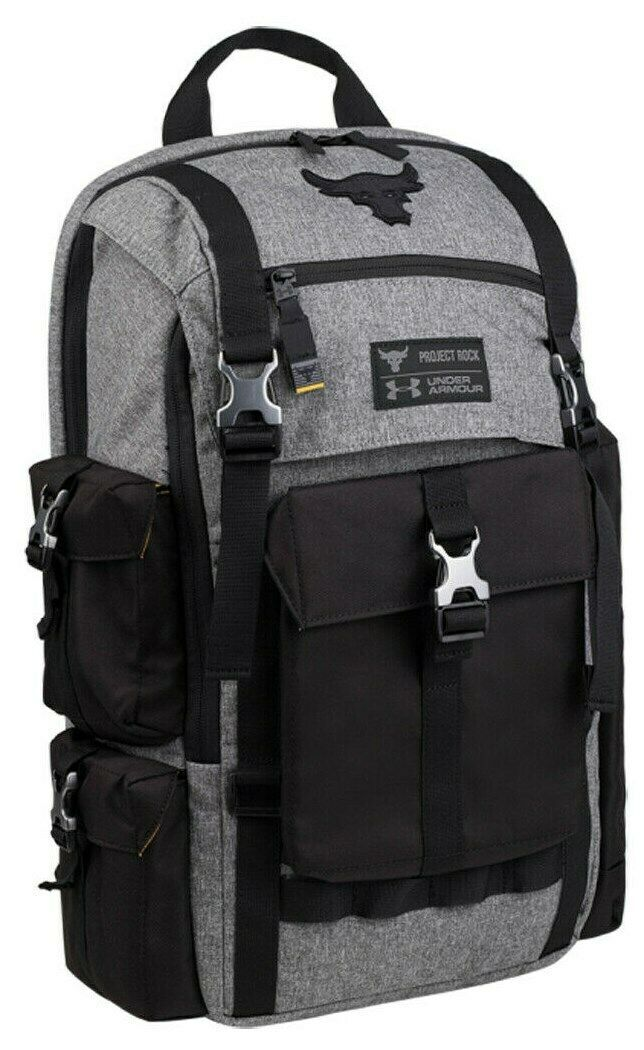 """UNDER ARMOUR UA PROJECT ROCK REGIMENT BACKPACK """"THE ROCK"""" BLACK/GREY NEW W/TAGS"""