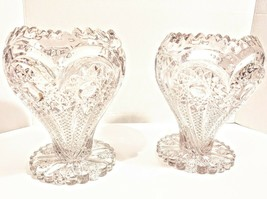 "Stunning Pair 9"" Imperial Zipper Heart Glass Vase Vases EAPG Pressed Brilliant - $100.00"
