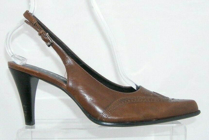Franco Sarto brown leather pointed oxford brogue buckle slingback heels 7.5M image 8