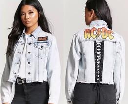 ACDC graphic acid wash denim jean crop jacket womens size SMALL ac/dc bl... - $49.98