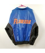 Florida Gators Mens Faux Leather Jacket Medium M Blue Black Orange Varsity - $57.93