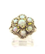 10k Yellow Gold Vintage Women's Cocktail Ring With Opal In A Flower Shape - $205.70
