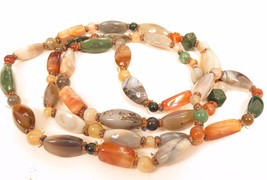 "Vintage Large Polished Agate Bead Multi-colored Long 48"" Necklace*178g*F96  - $122.71"