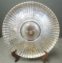 """Vintage Elegant Glass Heisey Ridgeleigh 11"""" Charger With Silver Overlay - $23.74"""