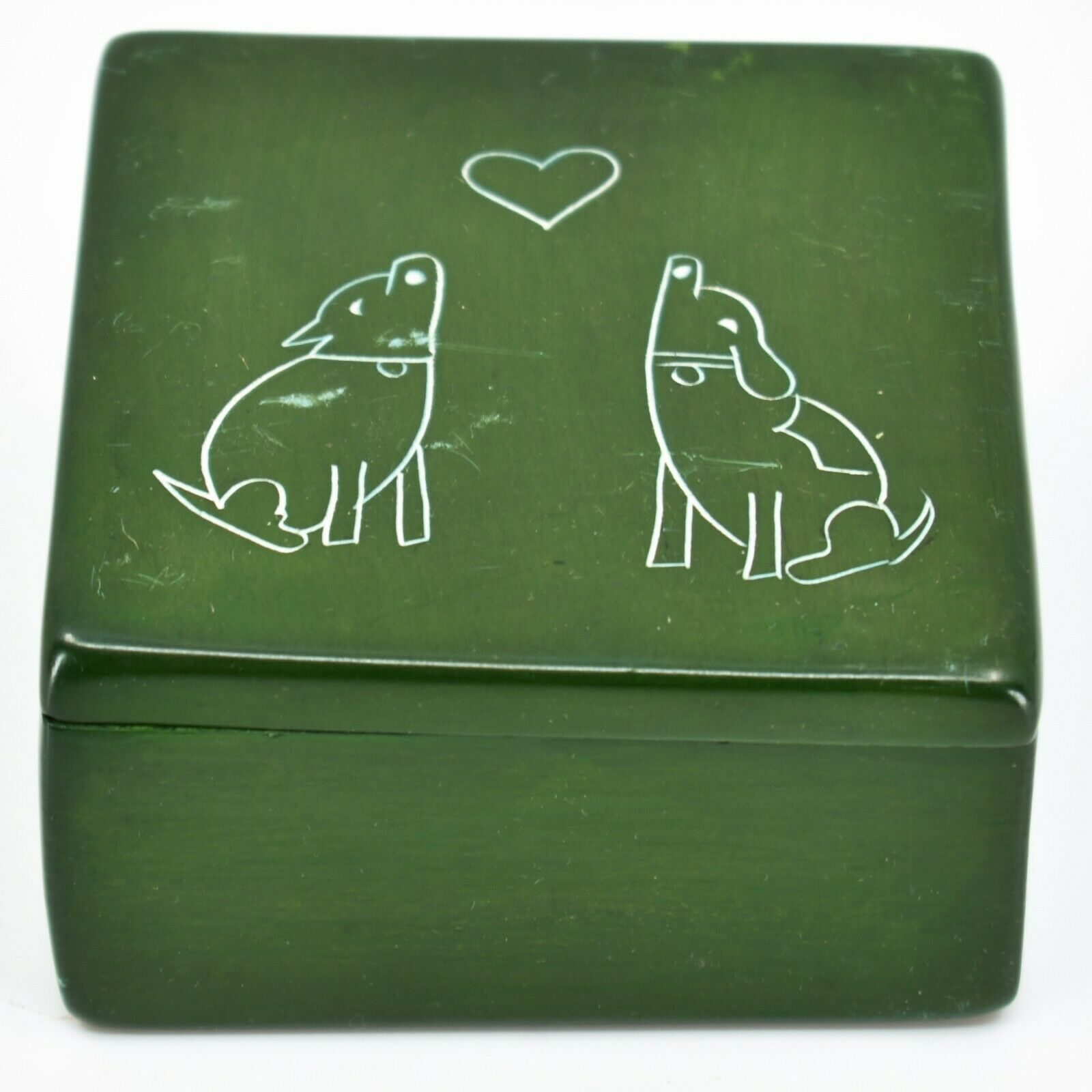 """Vaneal Group Hand Carved Kisii Soapstone Puppy Dog Love Green 3"""" Trinket Box"""