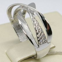 SOLID 18K WHITE GOLD BAND ZIRCONIA RING, ONDULATE, WAVE, LUMINOUS, MADE IN ITALY image 3