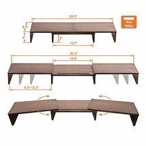 HUVIBE Bamboo Dual Monitor Stand Riser with Length and Angle Adjustable, 3 Shelf image 4