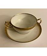 M Redon  Limoges France Soup Cup Saucer Gold Trim - $19.99