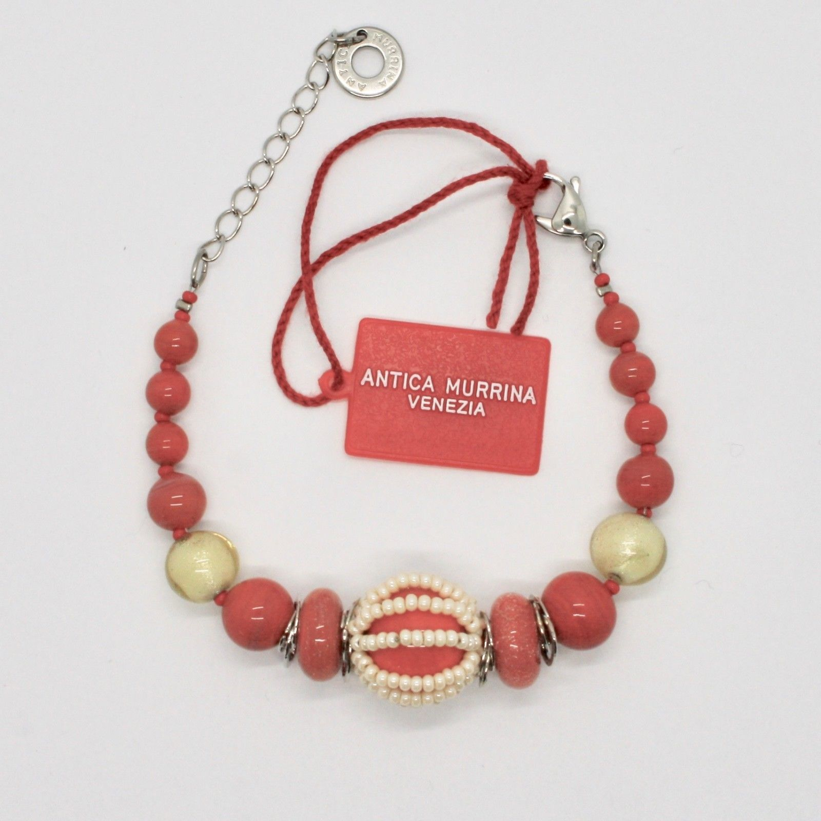 ANTICA MURRINA VENEZIA BRACELET WITH MURANO GLASS RED CORAL BEIGE BR742A25