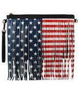 American Flag Print Fringe Crossbody Messenger Bag Clutch (Black) - $26.72