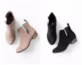 Shopglamla BLACK BEIGE Faux Suede Cutout ankle bootie ankle boots 5.5-10 - $28.00