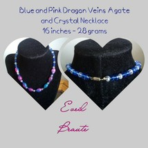 Blue and Pink Dragon Veins Agate and Crystal Necklace - $21.78