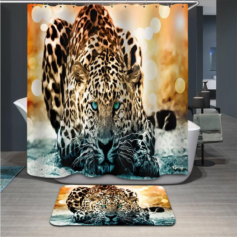 Primary image for Fabric Animals leopard Shower Curtain Home Bathroom Curtains 3d elephant bear pe