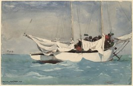 Key West Hauling Anchor by Winslow Homer Sailing Seascape Sail Boat 36x24 Canvas - $296.01