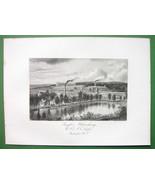 PAWTUCKET Rhode Island Sayles Bleachery Company - 1876 Antique Print - $18.36