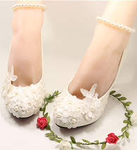 Woman's Low Heel Wedding Shoes- Woman's Vintage Wedding Size UK 3,4,5,6,... - £30.95 GBP