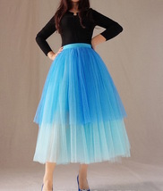 Blue Layered Tulle Skirt Blue Puffy Tulle Skirt Plus Size image 2