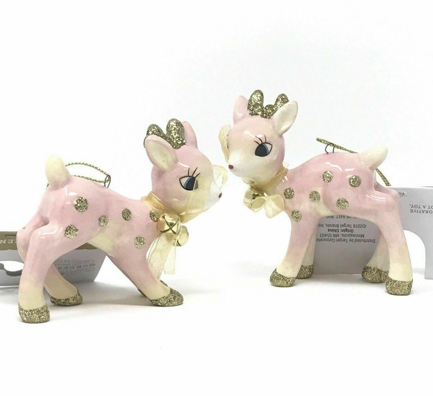 Lot of 2 Target Wondershop Pink Retro Ceramic Deer Christmas Ornaments 2018 NEW