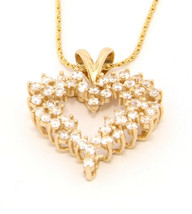 14k Yellow Gold Heart Pendant Necklace 18 inch Cubic Zirconia - $398.00