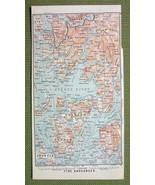 NORWAY Bjorne Fjord Ytre Hardanger - 1892 MAP ORIGINAL Baedeker - $5.07