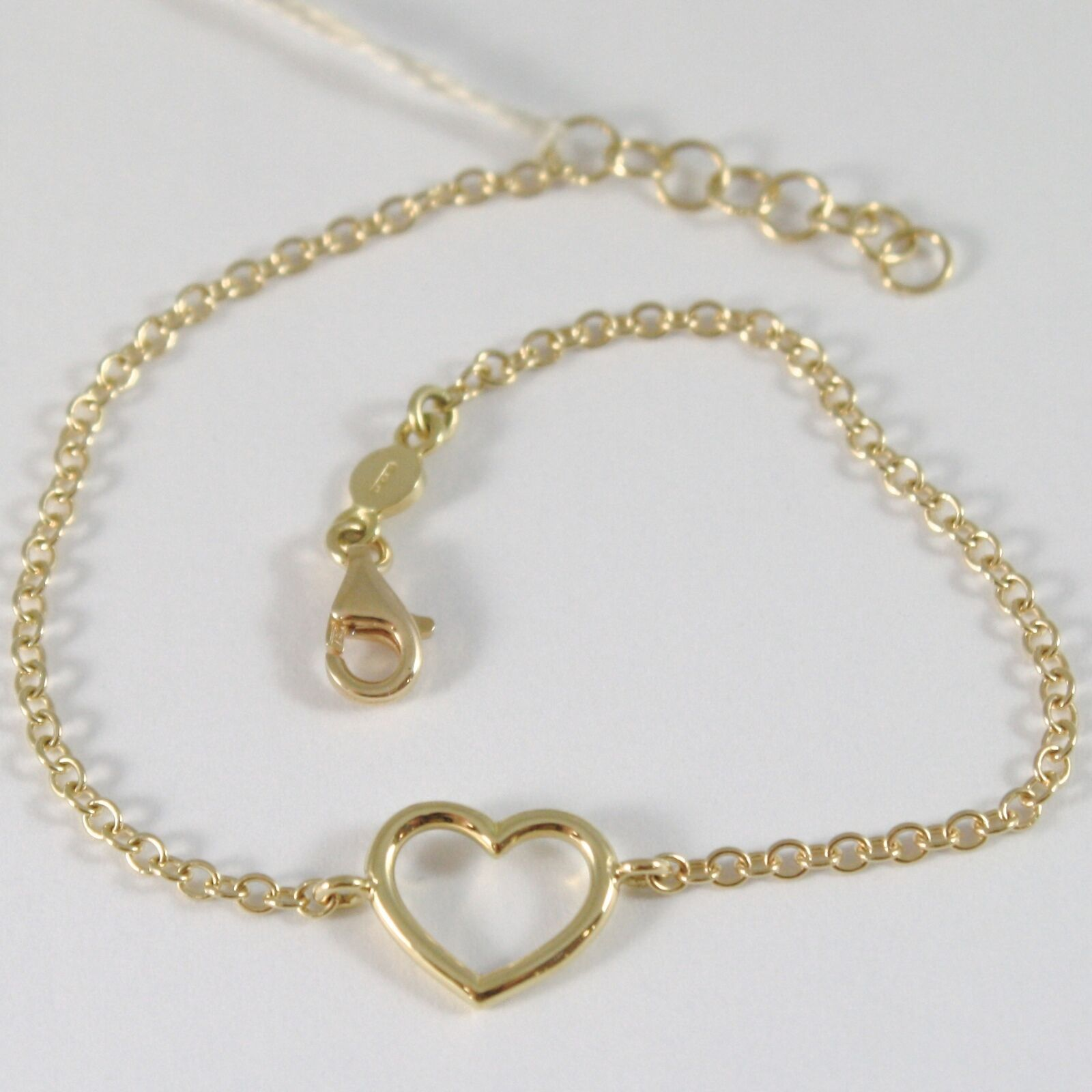 Yellow Gold Bracelet 750 18k with Heart Tube, ROLO, 18 cm length