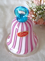 Murano Art Glass White Lattice and Pink Stripes Bell with Blue Handle wi... - $49.99