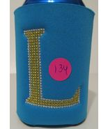 Koozie Monogrammed Bundle of Six Handmade with Embroidered Cross Stitch ... - $10.99