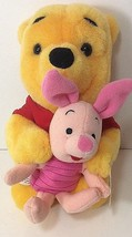 "Vtg Disney Winnie the Pooh Piglet Hug & Hold Hands 7"" Plush 1997 Mattel ... - $37.61"