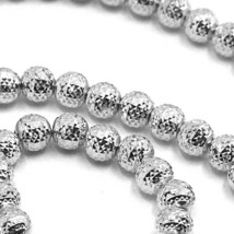 """18K WHITE GOLD CHAIN FINELY WORKED SPHERES 5 MM DIAMOND CUT, FACETED 20"""", 50 CM image 2"""
