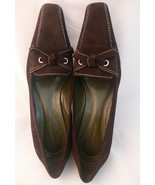 Ann Taylor Womens 7.5M Brown Suede Leather Bow Pointed Square Toe Pump Shoe - $18.64
